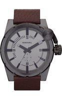 Diesel Steel and Leather Watch Grey - Lyst