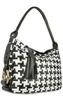 Fontanelli Black and White Houndstooth Woven Leather Tote Bag - Lyst