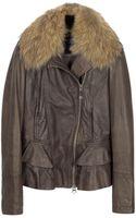 Forzieri Dark Brown Asymetrical Zip Leather Jacket - Lyst