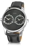 Guess Black Dial Dual Time Leather Band Watch - Lyst
