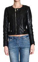 Versace  Leather Zipped Biker Jacket - Lyst