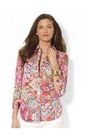 Lauren by Ralph Lauren Three-quarter-sleeved Printed Button Down Shirt - Lyst