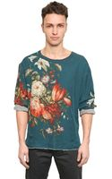 Dolce & Gabbana Floral Silk and Wool Jersey T-shirt - Lyst