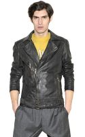John Galliano Belted Nappa Leather Motorcycle Jacket - Lyst