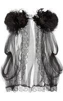 Alberta Ferretti Featherembellished Silk Tulle Top - Lyst
