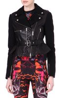 McQ by Alexander McQueen Leather Panelled Biker Jacket - Lyst