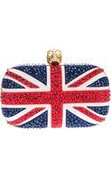 Alexander McQueen Union Jack Studded Skull Clutch - Lyst
