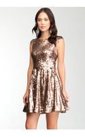 Bebe Low Back Fit Flare Sequin Dress - Lyst