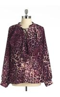 Anne Klein Animal print Ruffled Blouse - Lyst