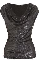 Donna Karan New York Icons Sequined Silk and Stretch jersey Top - Lyst