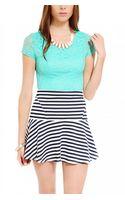 Akira Black Label Striped Tennis Skirt in Navy - Lyst