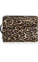 Lanvin Leopardprint Calf Hair and Texturedleather Clutch - Lyst