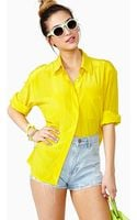 Nasty Gal Chasing The Sun Silk Blouse - Lyst