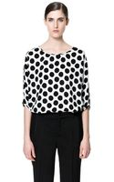 Zara Polka Dot Printed Blouse - Lyst
