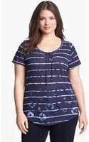 Lucky Brand Hallie Shibori Stripe Tee - Lyst