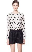 Zara Polka Dot Printed Shirt - Lyst