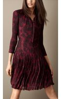 Burberry Animal Print Crépon Silk Dress - Lyst