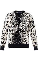 Lanvin Ocelot Intarsia Knit Sweater - Lyst