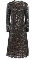 Michael Kors Long Sleeve Crewneck Floral Lace Dress - Lyst