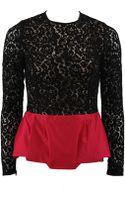Michael Kors Long Sleeve Peplum Lace Top - Lyst