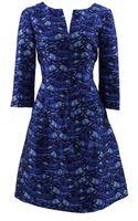 Oscar de la Renta Split Neck Print Dress with Darts - Lyst