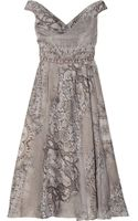 Lela Rose Laceprint Silk Dress - Lyst