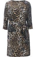 Biba Leopard and Lace Printed Shift Dress - Lyst