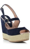 Pied A Terre Lark Double Buckle Wedge Sandals - Lyst