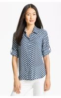 Sandra Ingrish Polka Dot Roll Sleeve Blouse - Lyst