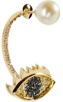 Delfina Delettrez Gold Cartoon Eye and Pearl Earring - Lyst