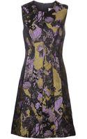 Lela Rose Round Neck Brocade Dress - Lyst