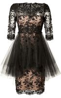 Marchesa Silk Lace Dress - Lyst