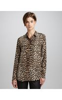 Equipment Signature Leopard-print Slim Blouse - Lyst