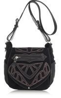 Isabel Marant Ballwin Embroidered Leather and Suede Shoulder Bag - Lyst