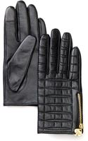 Kate Spade Quilted Logo Leather Tech Gloves - Lyst
