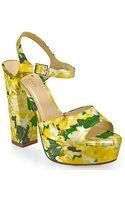 Kate Spade Ila Silk Floral Print Platform Sandal in Yellow - Lyst