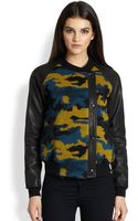 Gryphon Camo Leather Combo Moto Jacket - Lyst