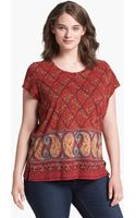 Lucky Brand Caprice Mix Print Top - Lyst