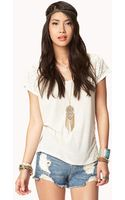 Forever 21 Linenblend Lace Top - Lyst