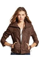 American Rag Ribbed Fauxleather Bomber - Lyst