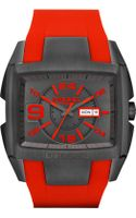 Diesel Mens Red Silicone Strap 49mm - Lyst