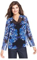 Ellen Tracy Threequartersleeve Sheer Floralprint Highlow Blouse - Lyst