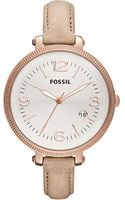 Fossil Womens Heather Tan Leather Strap 42mm - Lyst