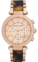 Michael Kors Womens Chronograph Parker Tortoise Acetate and Rose Goldtone Stainless Steel Bracelet 39mm - Lyst