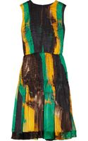 Oscar de la Renta Printed Pleated Silk Dress - Lyst