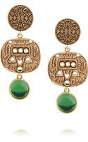 Oscar de la Renta Carved Goldplated Cabochon Clip Earrings - Lyst