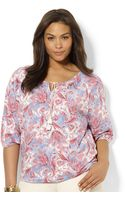 Lauren by Ralph Lauren Three quarter sleeve Paisley print - Lyst