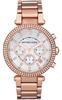 Michael Kors Chronograph Parker Rose Goldtone Stainless Steel Bracelet - Lyst