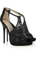 Jimmy Choo Embellished Mesh and Suede Sandals - Lyst