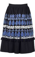 Suno High Waisted Embroidered Skirt - Lyst